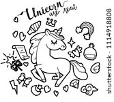 cute unicorn and pony... | Shutterstock .eps vector #1114918808