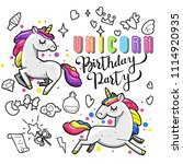 cute unicorn collection with... | Shutterstock .eps vector #1114920935