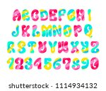 psychedelic font with colorful... | Shutterstock .eps vector #1114934132