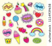 bright girlish stickers of pink ... | Shutterstock .eps vector #1114939658