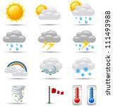 set of weather icons | Shutterstock .eps vector #111493988