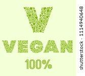 vegan. vector calligraphy... | Shutterstock .eps vector #1114940648