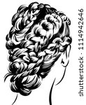 cool braided hairstyle | Shutterstock .eps vector #1114942646