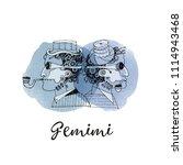 gemini steampunk zodiac. hand...   Shutterstock .eps vector #1114943468