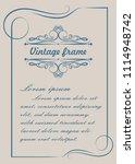 decorative frame in vintage... | Shutterstock .eps vector #1114948742