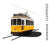 Isolated vector illustration of the old yellow tram in Lisbon, Portugal.