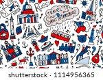 travel to saint petersburg ... | Shutterstock .eps vector #1114956365