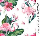 tropical seamless floral summer ... | Shutterstock . vector #1114957865