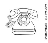 vintage telephone in black and... | Shutterstock .eps vector #1114959095