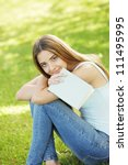 young woman with book  copy... | Shutterstock . vector #111495995