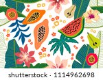 wide floral pattern with... | Shutterstock .eps vector #1114962698