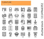 furniture elements   thin line... | Shutterstock .eps vector #1114966352