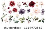 Stock photo set watercolor elements of roses collection garden red burgundy flowers leaves branches botanic 1114972562