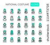 national costumes   thin line... | Shutterstock .eps vector #1114973735
