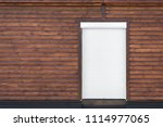 wooden building facade. brown... | Shutterstock . vector #1114977065