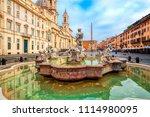 piazza navona square in rome ... | Shutterstock . vector #1114980095