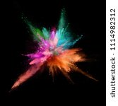 explosion of coloured powder... | Shutterstock . vector #1114982312