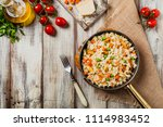 delicious risotto with chicken...   Shutterstock . vector #1114983452