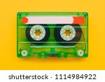 audio cassette tape on yellow... | Shutterstock . vector #1114984922