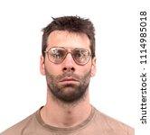 goofy man with broken vintage... | Shutterstock . vector #1114985018