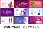 main web page set design vector.... | Shutterstock .eps vector #1114991678