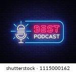 podcast neon sign vector. best... | Shutterstock .eps vector #1115000162