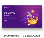glowing purple landing page or... | Shutterstock .eps vector #1115000225