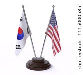 south korea and usa  two table... | Shutterstock . vector #1115000585