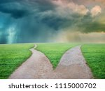 fork in the road choice concept  | Shutterstock . vector #1115000702