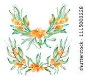 hand drawn watercolor wreaths...   Shutterstock . vector #1115003228