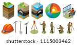 Earth exploration isometric icons, structure of globe, soil layers, scientific laboratory, geological tools, isolated vector illustration