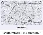 paris city map. map of paris ... | Shutterstock .eps vector #1115006882
