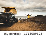 adventurer man in journey... | Shutterstock . vector #1115009825