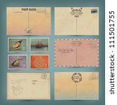 vintage postcards and postage... | Shutterstock .eps vector #111501755