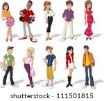 group of cool cartoon young... | Shutterstock .eps vector #111501815