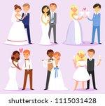 wedding couple vector married... | Shutterstock .eps vector #1115031428