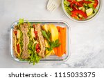 healthy meal prep glass... | Shutterstock . vector #1115033375