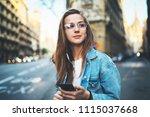beautiful young girl enjoying... | Shutterstock . vector #1115037668