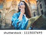 beautiful female traveler in... | Shutterstock . vector #1115037695
