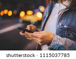 closeup shot of young hipster... | Shutterstock . vector #1115037785