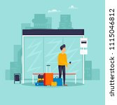 man stands at a bus stop  a... | Shutterstock .eps vector #1115046812