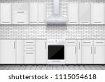 Stock vector typical white kitchen brick wall and cabinets with kitchen hoods sample of domestic architecture 1115054618