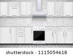 typical white kitchen. brick... | Shutterstock .eps vector #1115054618