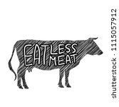 eat less meat. cow silhouette... | Shutterstock .eps vector #1115057912