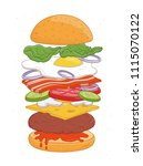 tasty hamburger with layers or...   Shutterstock .eps vector #1115070122