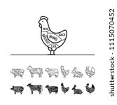 diagrams for butcher shop  ...   Shutterstock .eps vector #1115070452