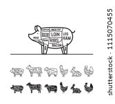 diagrams for butcher shop   pig.... | Shutterstock .eps vector #1115070455