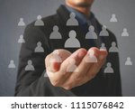 hand touch a virtual icon of... | Shutterstock . vector #1115076842