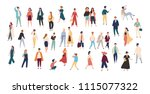 crowd of tiny people wearing... | Shutterstock .eps vector #1115077322