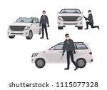 set of hijacker wearing black... | Shutterstock .eps vector #1115077328
